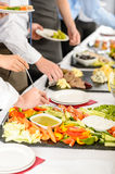 Business catering people take buffet food Royalty Free Stock Images