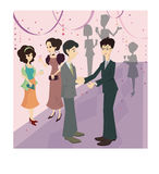 Business Celebration. Colorful retro illustration of businesspeople at a celebration with party decorations and additional people dressed up and holding drinks Stock Photos