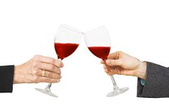 Business celebration - red wine cheers Stock Photography