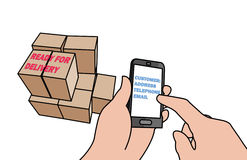 Business through cellphone. Illustration of a business being done through a cellphone with packages ready for delivery Royalty Free Stock Image