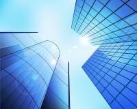 Business center. Blue glass business center. Vector illustration Stock Photography