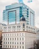 Business center, architecture, Ukrainian flag on the house Stock Photo