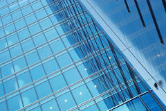 Business center blue glass walls Stock Photos