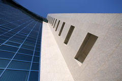 Business center building background. Wide angle shot of a business center building Royalty Free Stock Photo