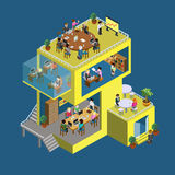 Business center building people flat 3d web isometric concept Royalty Free Stock Photography