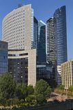 Business center buildings. Buildings business center in Paris from glass, metal and concrete Royalty Free Stock Photos
