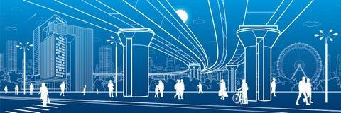Business Center, city architecture panorama. People walking at town street. Road crosswalk. Road bridge, overpass. Ferris wheel. U vector illustration
