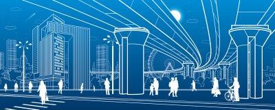 Business Center, city architecture. People walking at town street. Road crosswalk. Road bridge, overpass. Urban life. Vector desig royalty free illustration