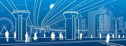 Business Center, city architecture. People walking at town street. Road crosswalk. Road bridge, overpass. Urban life. Vector desig vector illustration
