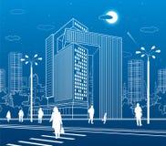 Business Center, city architecture. People walking at town street. Road crosswalk. Urban life. Vector design art vector illustration