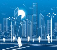 Business Center, city architecture. People walking at town street. Road crosswalk. Urban life. Vector design art royalty free illustration