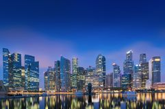 Business center and downtown of Singapore., Twilight scene, Blue Royalty Free Stock Images