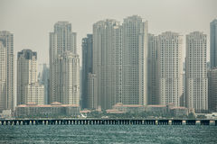 Business center of Dubai from the sea Royalty Free Stock Photos