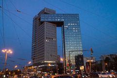 Business center Golden Gate on the Enthusiasts Highway, Moscow, Russia. Business center Golden gate is a modern, high-tech facility. It contains two skyscraper Royalty Free Stock Images