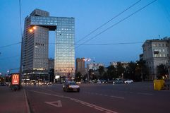 Business center Golden Gate on the Enthusiasts Highway, Moscow, Russia. Business center Golden gate is a modern, high-tech facility. It contains two skyscraper Stock Photo