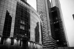 Business center with high skyscrapers. Business center in a large city with high skyscrapers in the eveningr Stock Photography