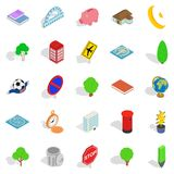 Business center icons set, isometric style. Business center icons set. Isometric set of 25 business center vector icons for web isolated on white background Stock Images