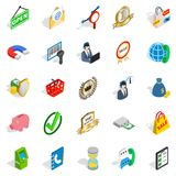 Business center icons set, isometric style. Business center icons set. Isometric set of 25 business center vector icons for web isolated on white background Royalty Free Stock Photo