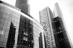 Business center with high skyscrapers. Business center in a large city with high skyscrapers in the eveningr Stock Photo
