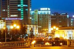 Business Center Of Minsk At Night Scene Street Royalty Free Stock Image