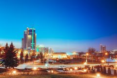Business Center Of Minsk At Night Scene Street Royalty Free Stock Photography