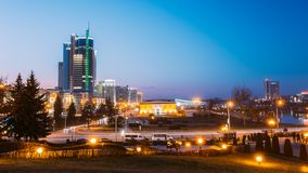 Business Center Of Minsk At Night Scene Street Stock Photography