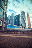 Business center Moscow City and Bagration Bridge Stock Image