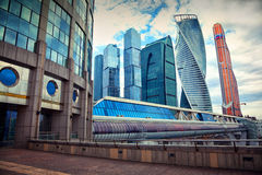 Business center Moscow City and Bagration Bridge Royalty Free Stock Photos