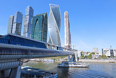 Business center Moscow-City and bridge Bagration Stock Image