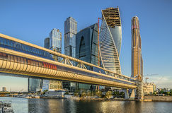 Business center Moscow City and bridge Bagration s Stock Photography