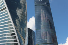 Business center Moscow-City. Fragments of the towers Federation and Evolution. Moscow City. Skyscrapers of the business center Royalty Free Stock Images