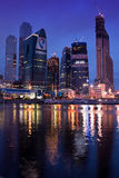 Business center Moscow city at night. Stock Photo