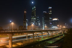 Business center Moscow city. Night panorama of the big city. Stock Photography