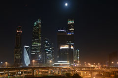 Business center Moscow city. Night panorama of the big city. Stock Photos