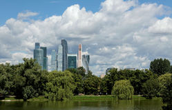 Business center Moscow-City, panorama, view from park. Royalty Free Stock Image