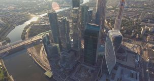 Business Center Moscow City. skyscrapers. Aerial photography of the Moscow shopping center. Glass skyscrapers shot in a. Bright sunny day with glare on the stock video footage