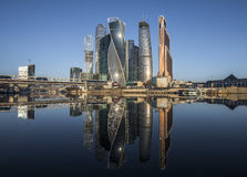Business Center Moscow City at sunrise. Royalty Free Stock Photography