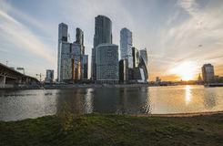 Business Center Moscow City at sunrise. Royalty Free Stock Images