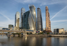 Business Center Moscow City at sunrise. Royalty Free Stock Image