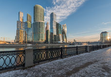 Business Center Moscow City at sunrise. Royalty Free Stock Photos
