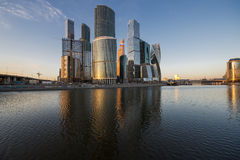 Business center Moscow-city at sunset. Stock Photos