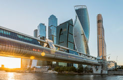 Business center Moscow-city at sunset. Royalty Free Stock Photos