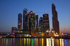 Business center in Moscow early in the morning Stock Photos