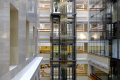 Business center. With panoramic glass elevators Stock Image