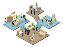 Business center with people at work in offices. Vector isometric illustrations Stock Images