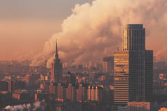 Business center and residential tower in morning Stock Photos