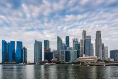 Business center of Singapore, Business downtown at sunrise scene.  royalty free stock image
