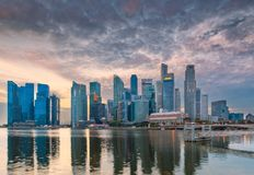 Business center of Singapore, Business downtown at sunrise scene.  stock image