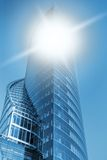 Business center toned in blue Stock Photography