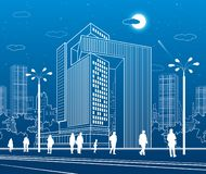 Business Center, urban architecture. People walking at city street. Vector design art royalty free illustration